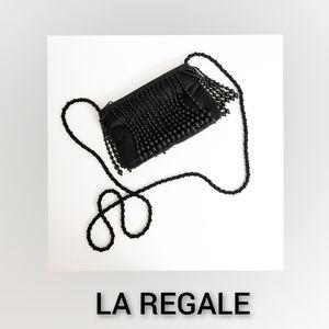 La Regale Vintage Black Beaded Crossbody Bag